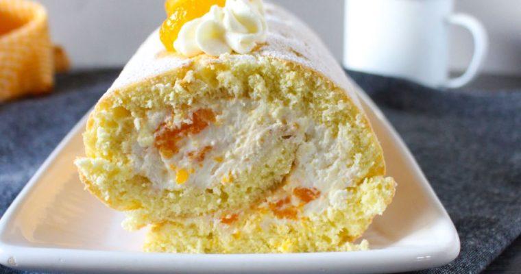 Biskuitrolle mit Mandarinen-Quark-Creme